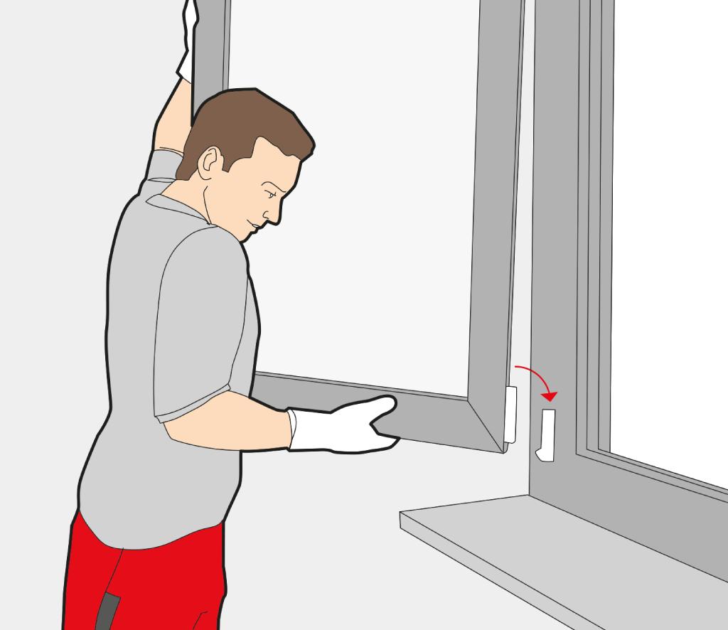 Fensterflügel einhängen