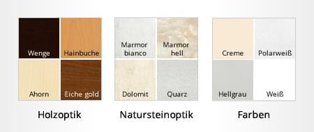 Mögliche Farbkonfigurationen für Innenfensterbänke