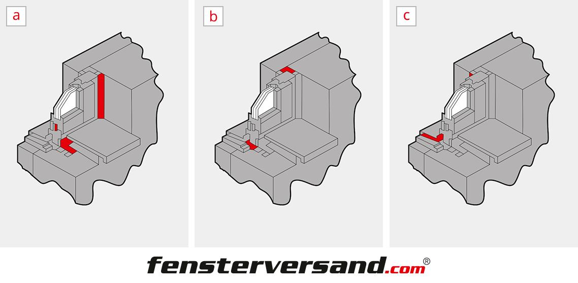 Terrassentür Abdichtungsarten (Innen, Mitte, Außen)