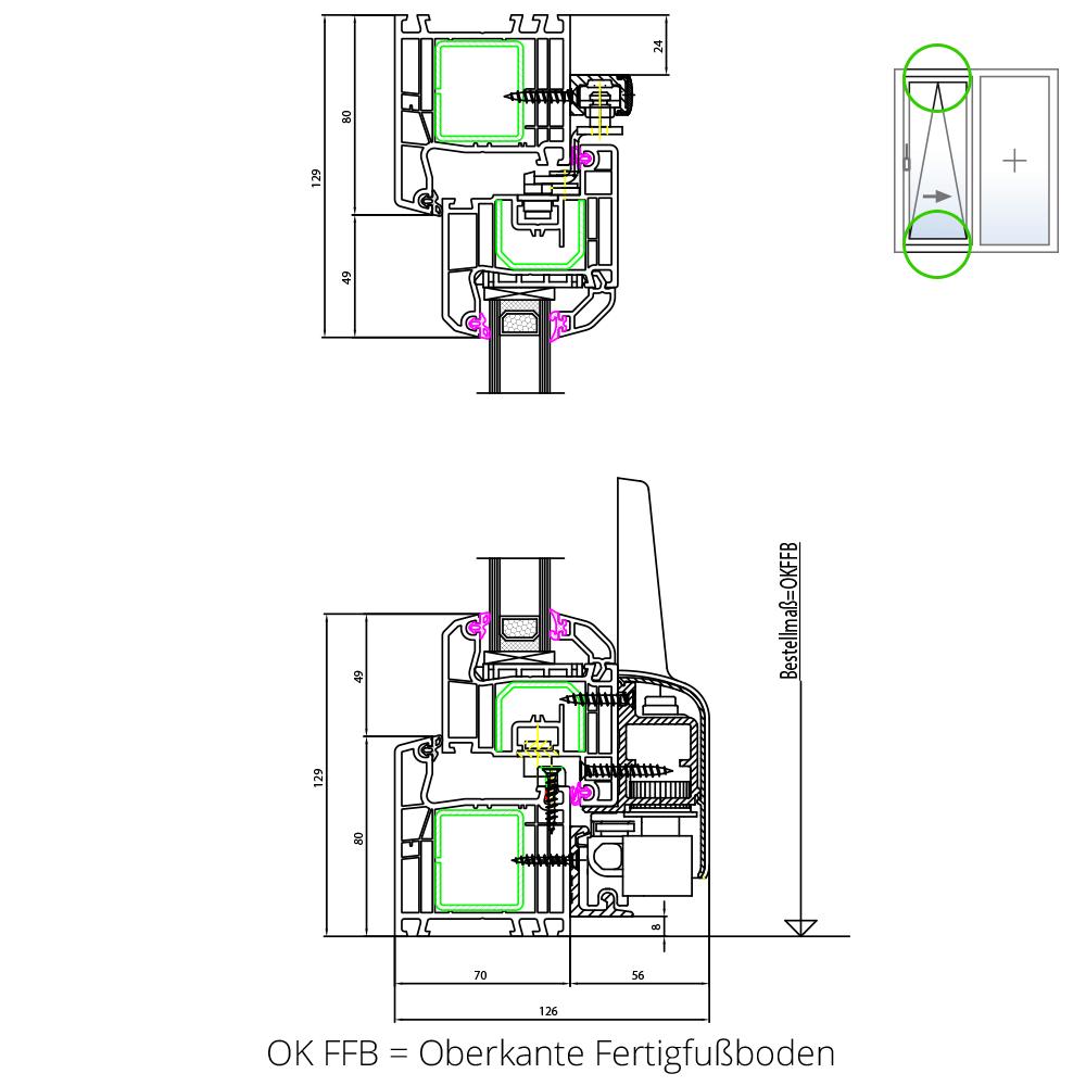 Detailzeichnung IDEAL® 4000 Parallel-Schiebe-Kipp-Tür