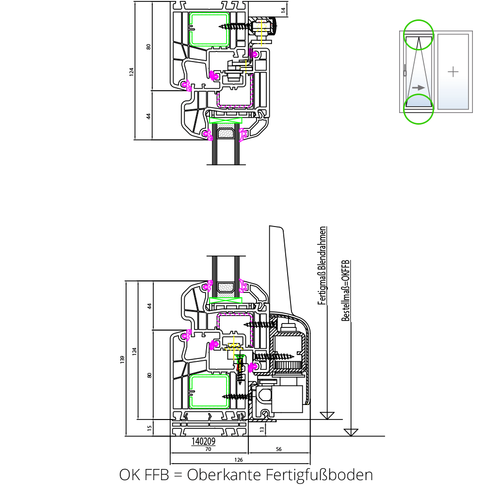 detailzeichnungen kunststofffenster ideal 5000. Black Bedroom Furniture Sets. Home Design Ideas