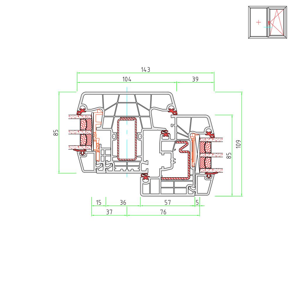 Detailzeichnungen kunststofffenster ideal 8000 for Einfache kunststofffenster