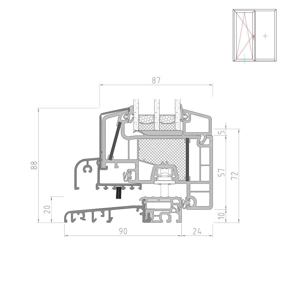 Twinset 8000ED Balkontür mit flacher Schwelle