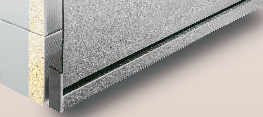 Detailansicht einer Aluminiumschale für Holzfenster