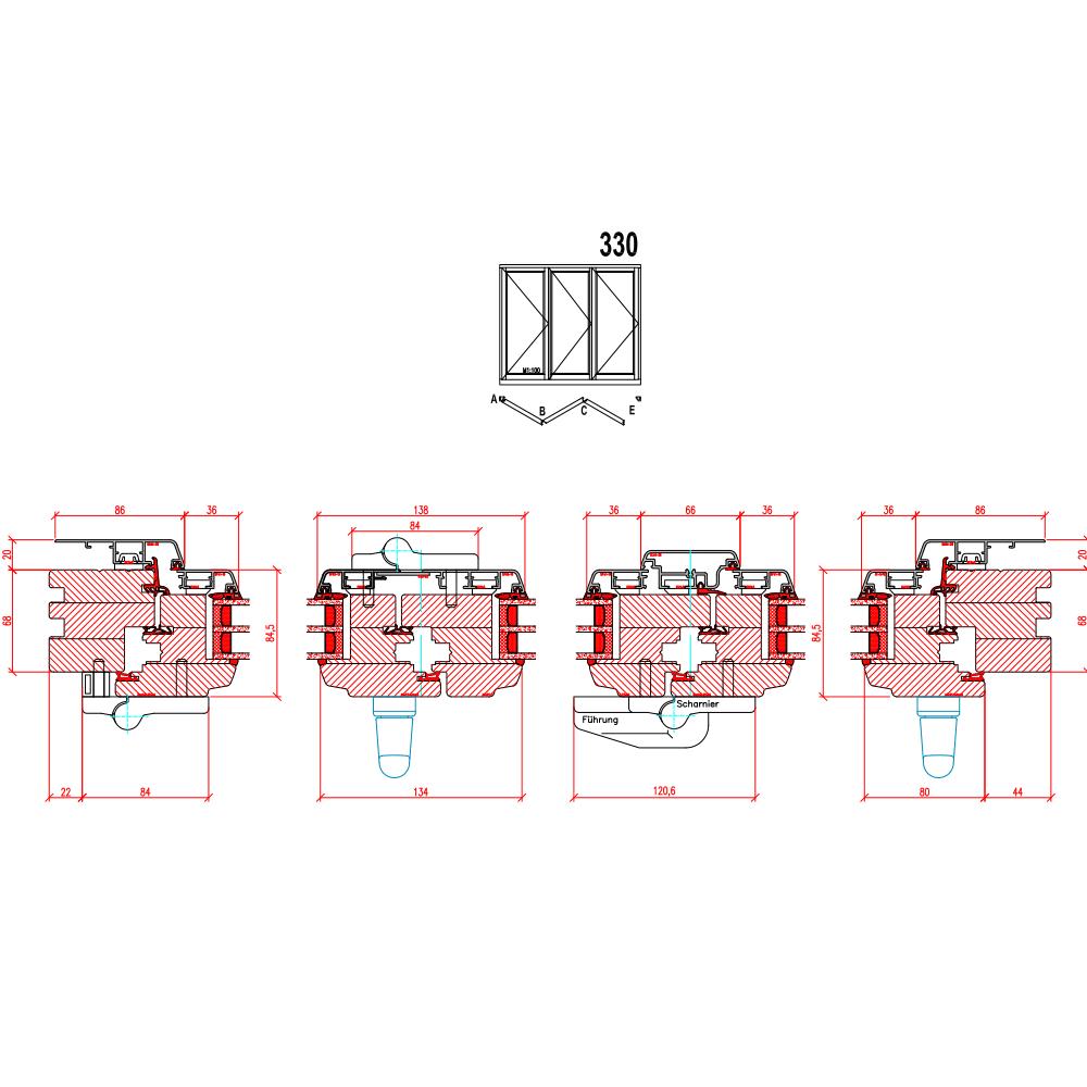 Holz-Alu Faltschiebetüren - Schema 330