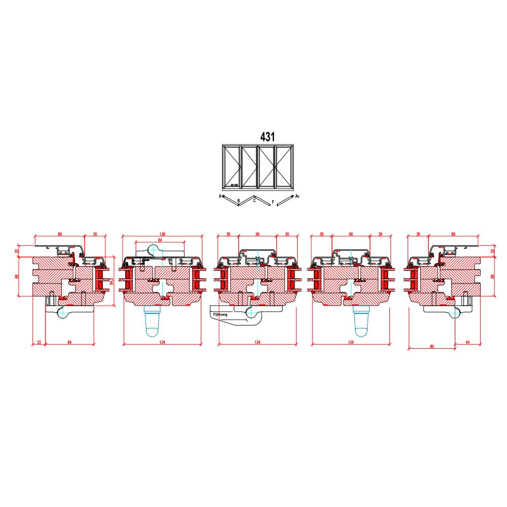 Holz-Alu Faltschiebetüren - Schema 431