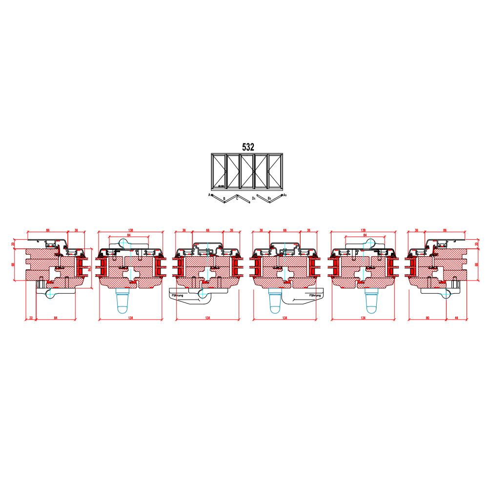 Holz-Alu Faltschiebetüren - Schema 532