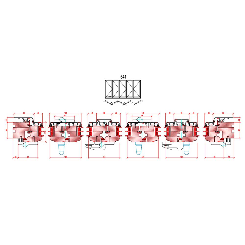 Holz-Alu Faltschiebetüren - Schema 541