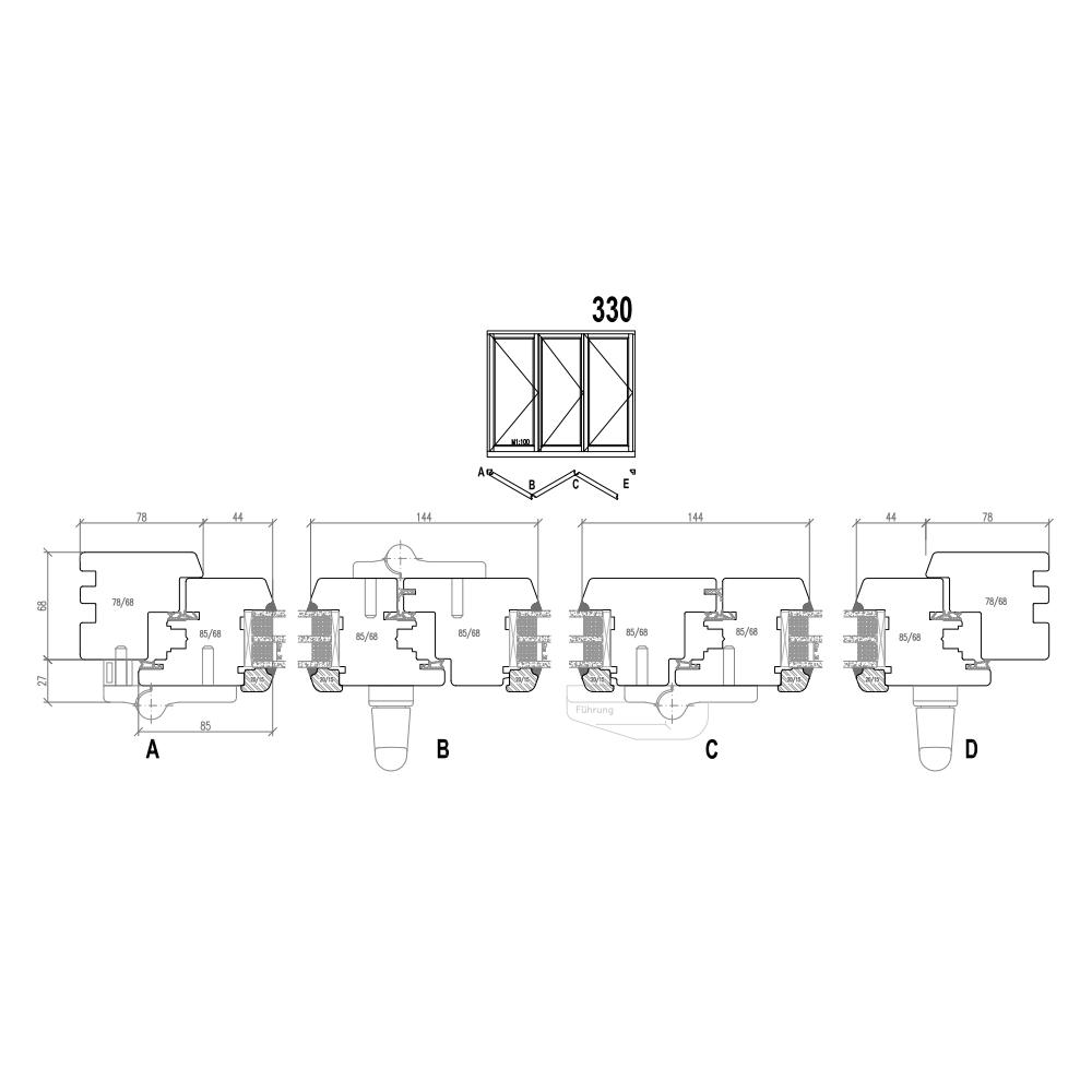 Holz Faltschiebetüren - Schema 330