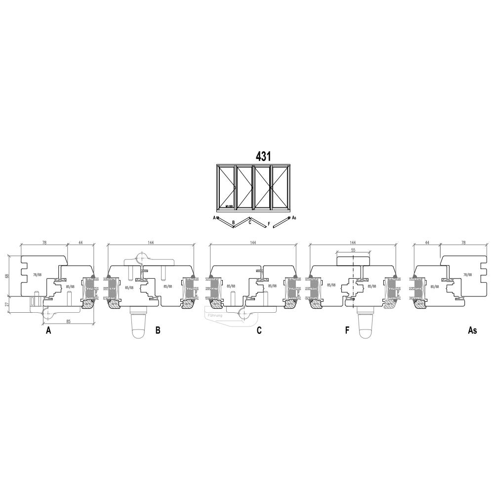 Holz Faltschiebetüren - Schema 431