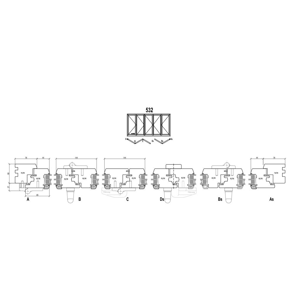 Holz Faltschiebetüren - Schema 532