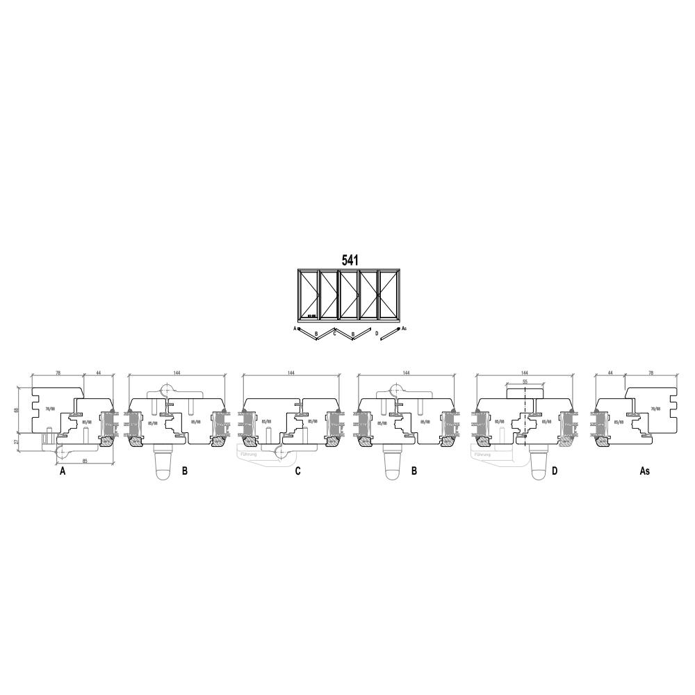 Holz Faltschiebetüren - Schema 541