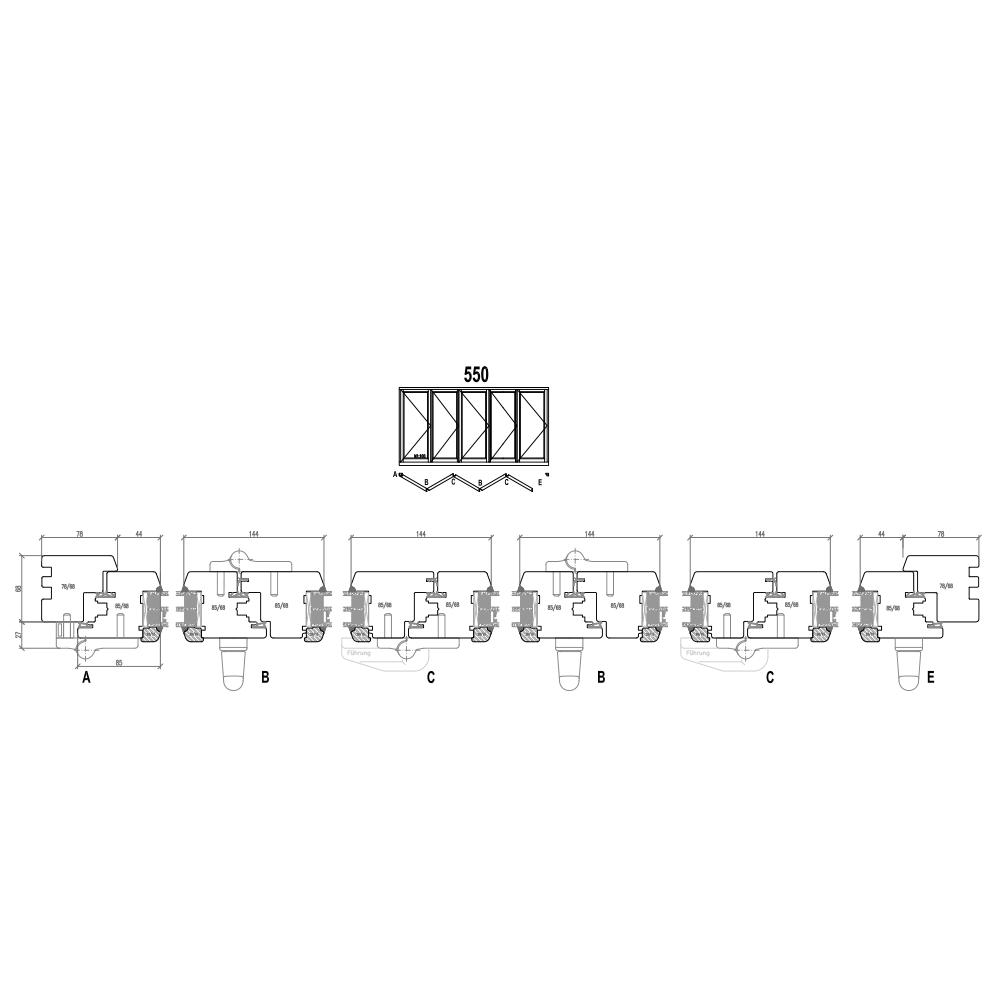 Holz Faltschiebetüren - Schema 550