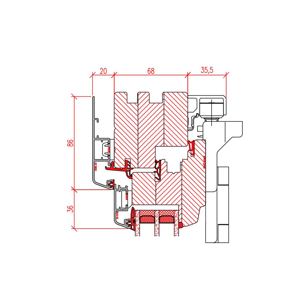 Faltschiebetür Idealu - Detail oben