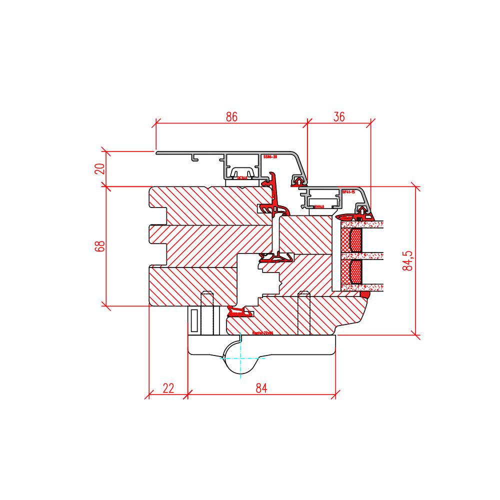 Faltschiebetür Idealu - Detail seitlich