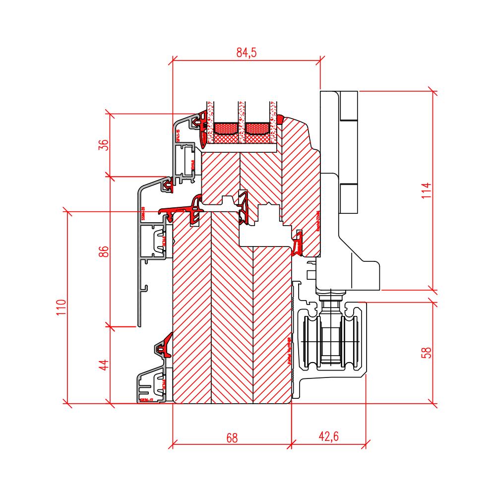 Faltschiebetür Idealu - Detail unten