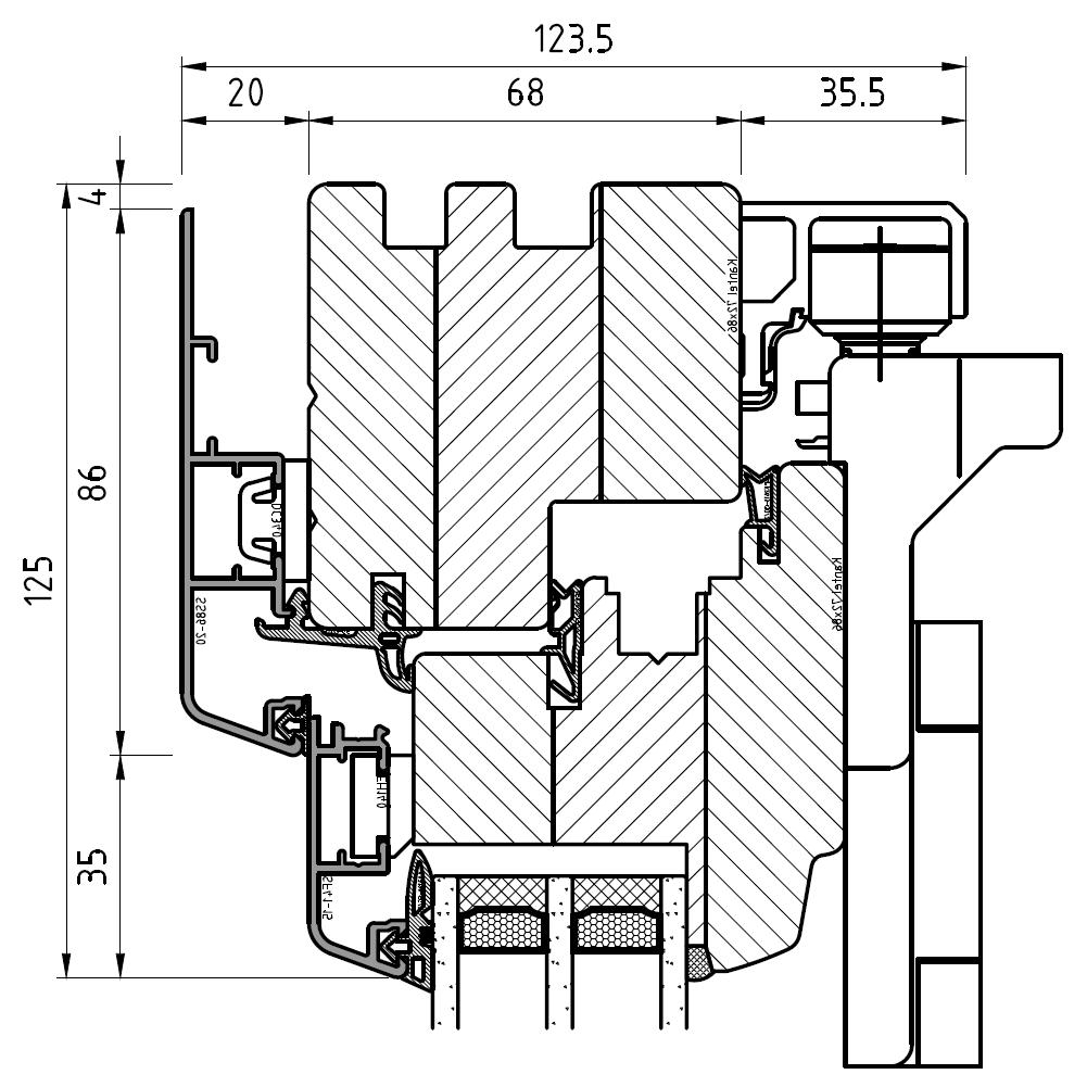 Faltschiebetür Idealu IV 68 - Detail oben