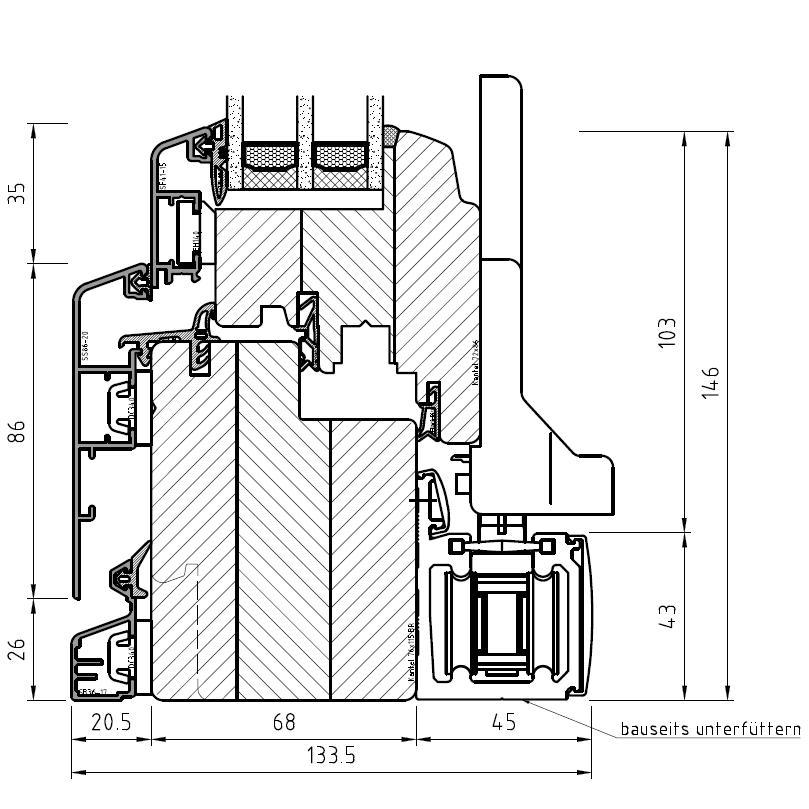 Faltschiebetür Idealu IV 68 - Detail unten