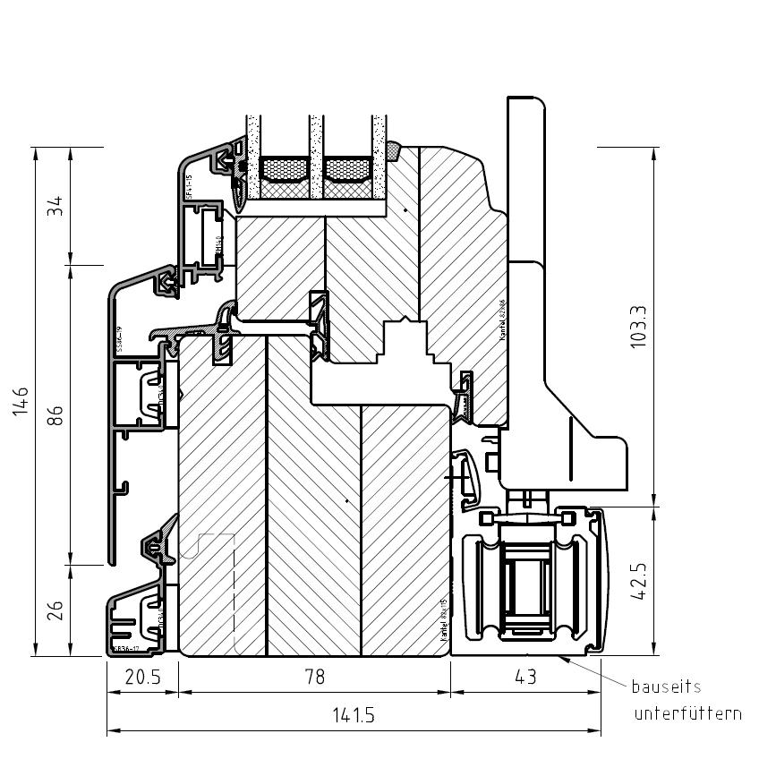 Faltschiebetür Idealu IV 78 - Detail unten