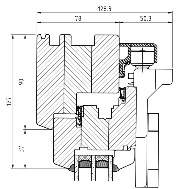 Faltschiebetür IV 78 - Detail oben