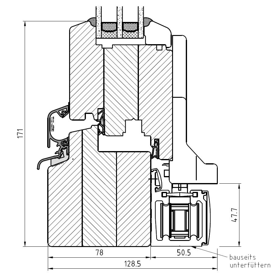 Faltschiebetür IV 78 - Detail unten