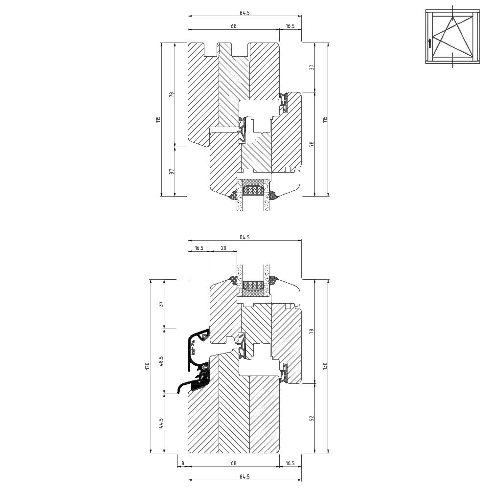 holzfenster cad detailzeichnungen holzfenster schnitte. Black Bedroom Furniture Sets. Home Design Ideas