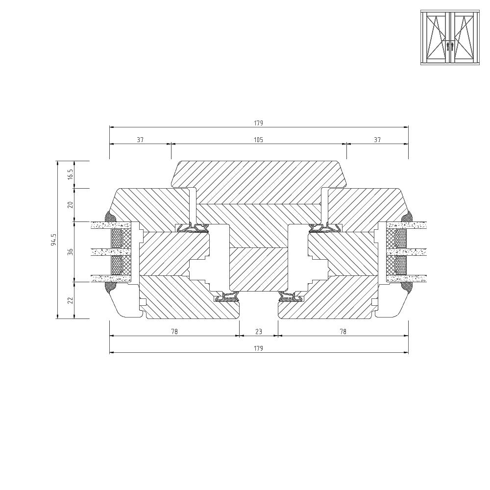 Holz-Classic-iv78-Mittelpfosten