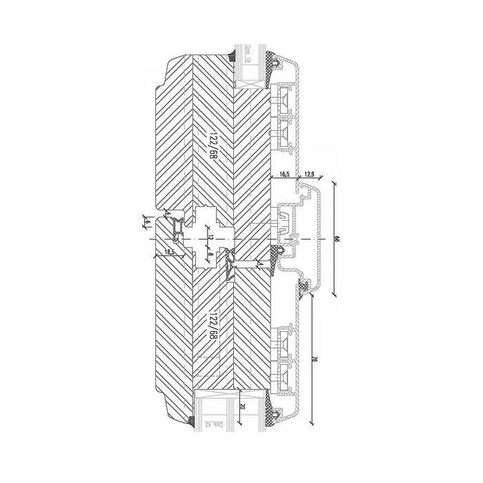 Holz-Aluminium Balkontüre zweiflüglig mit Türgetriebe