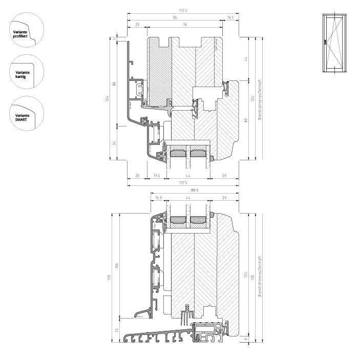 Holz-Aluminium Balkontüre mit Bodenschwelle aus Aluminium