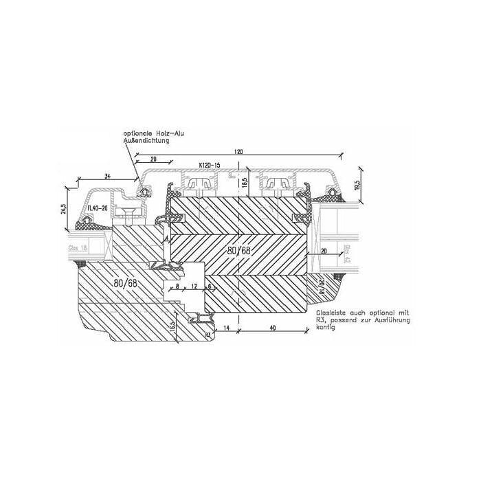 Holz alu fenster detail zeichnungen und cad pl ne for Fenster cad detail