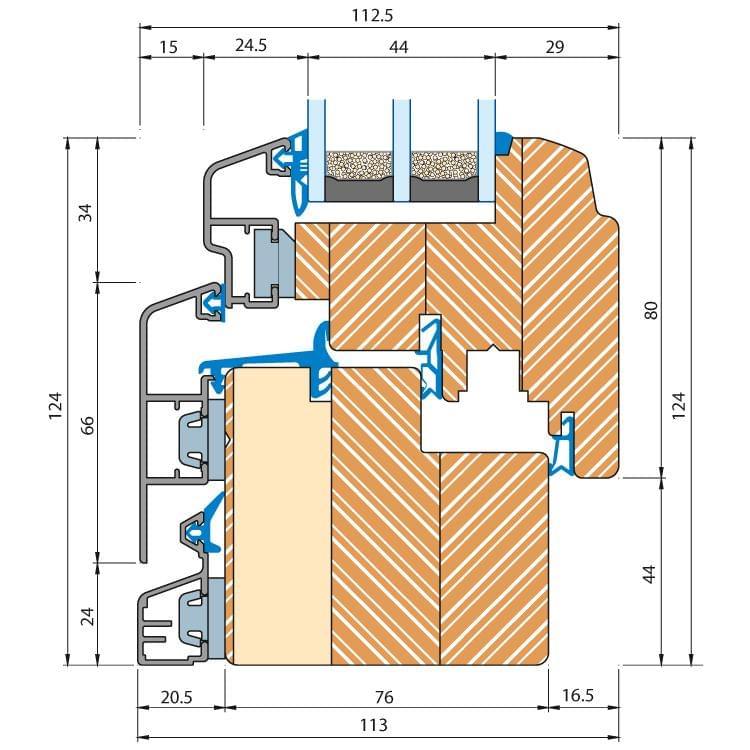 Holz-Alu Fenster Eco Idealu Trendline Profilschnitt