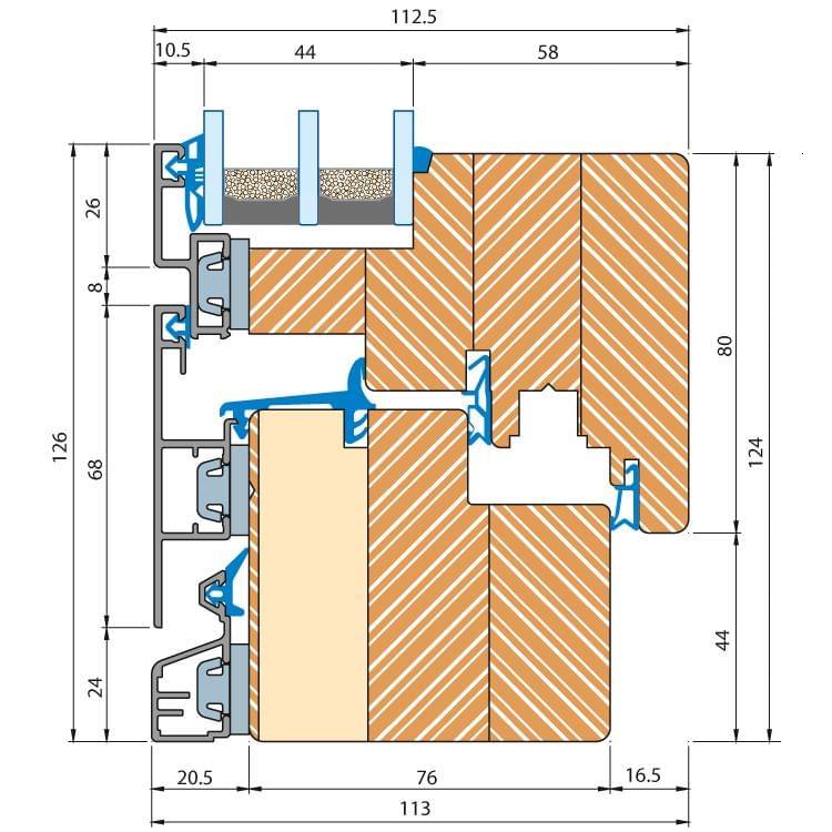 Holz-Alu Fenster Eco Plano Profilschnitt
