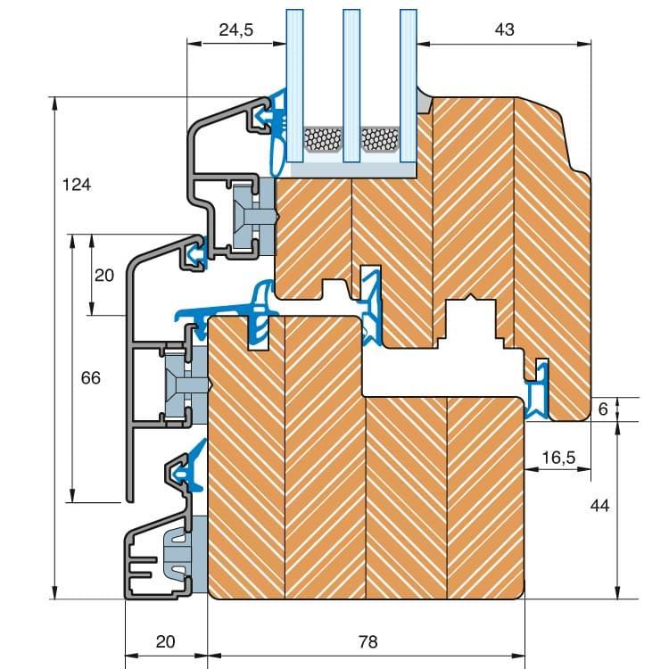 Holz-Alu Fenster Idealu Trendline IV 78 Profilschnitt
