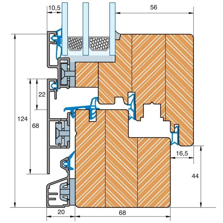 Holz-Alu Fenster Plano Profilschnitt