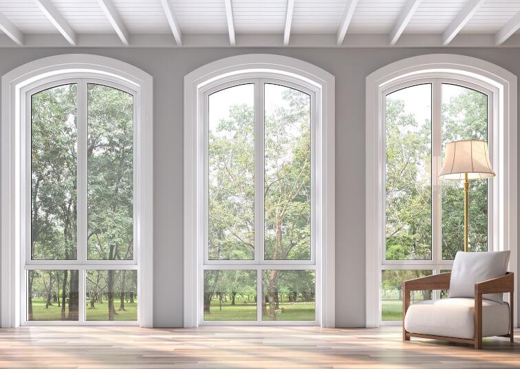 Bodentiefe Fenster mit Unterlicht