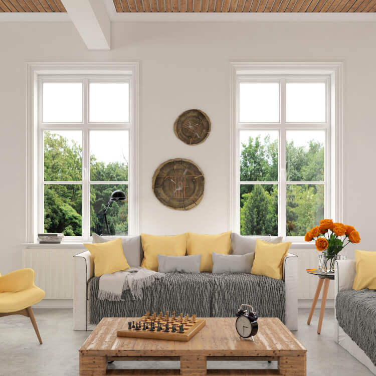 Einbausituation Doppelflügelfenster ohne Mittelsteg