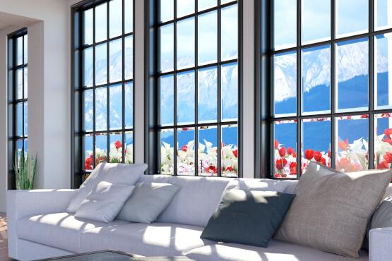 Fenster mit Sprossen in Grau