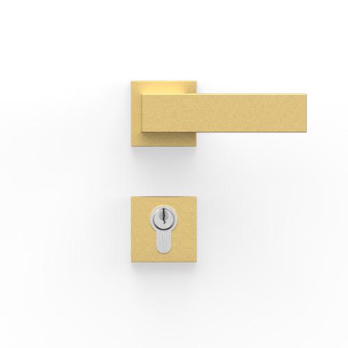 Drückergarnitur für Haustür in gold beschichtet