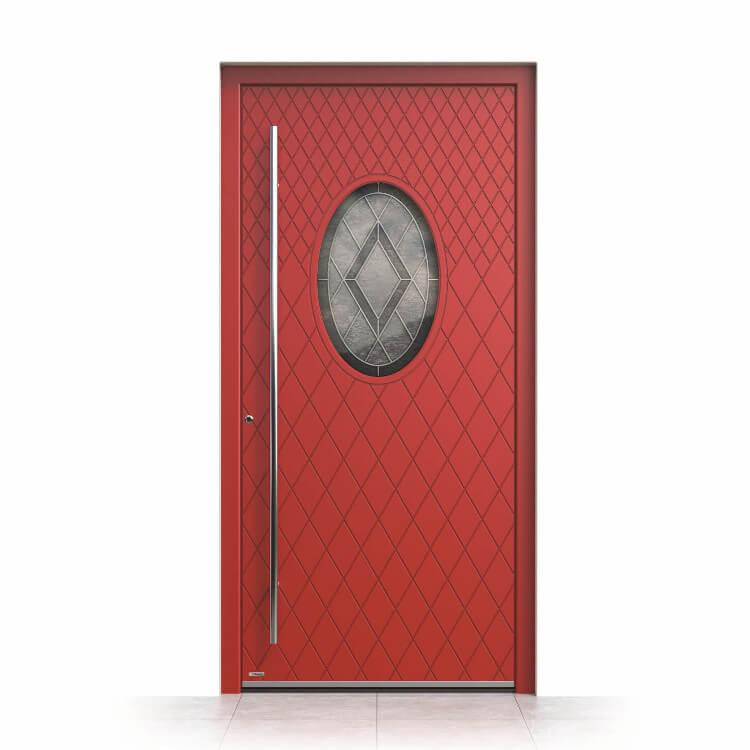 Haustür mit rundem Fenster rot