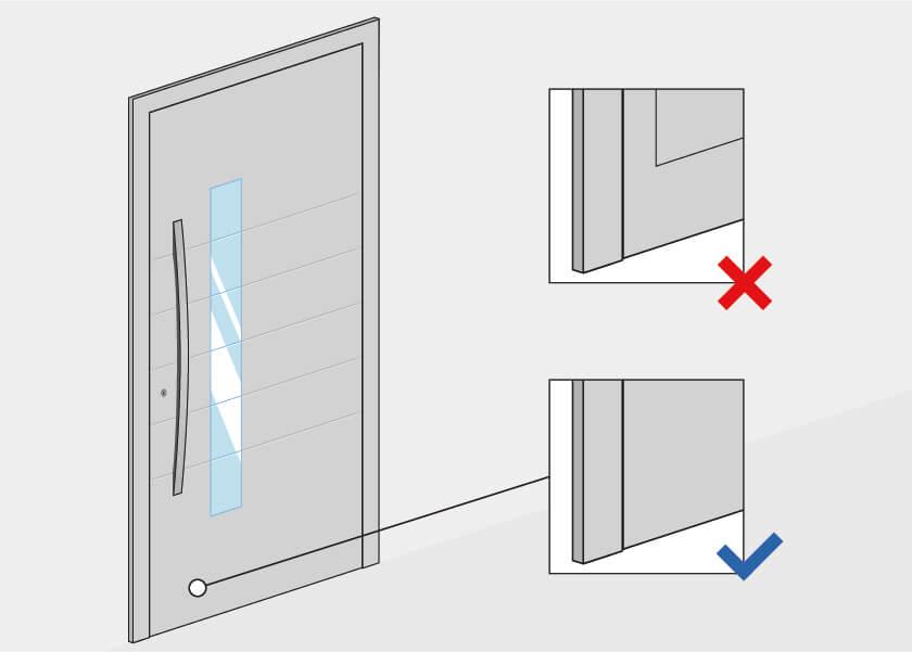 Flügelüberdeckung bei Haustüren