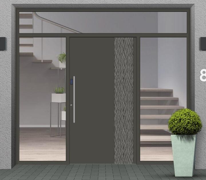 Haustür mit 2 Seitenteilen & Oberlicht