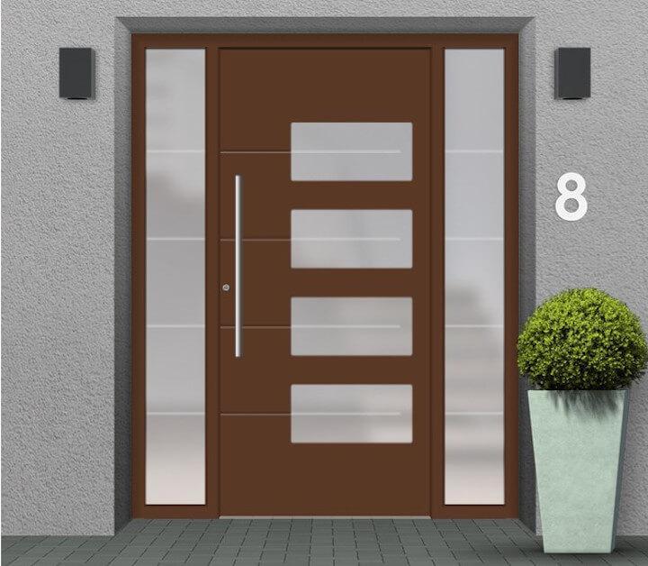 Haustür mit 2 Seitenteilen