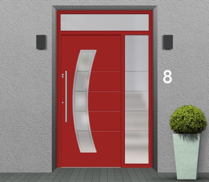 Haustür mit Seitenteil rechts und Oberlicht
