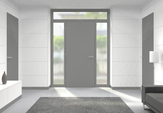 Eingangsbereich mit Haustür mit Milchglas