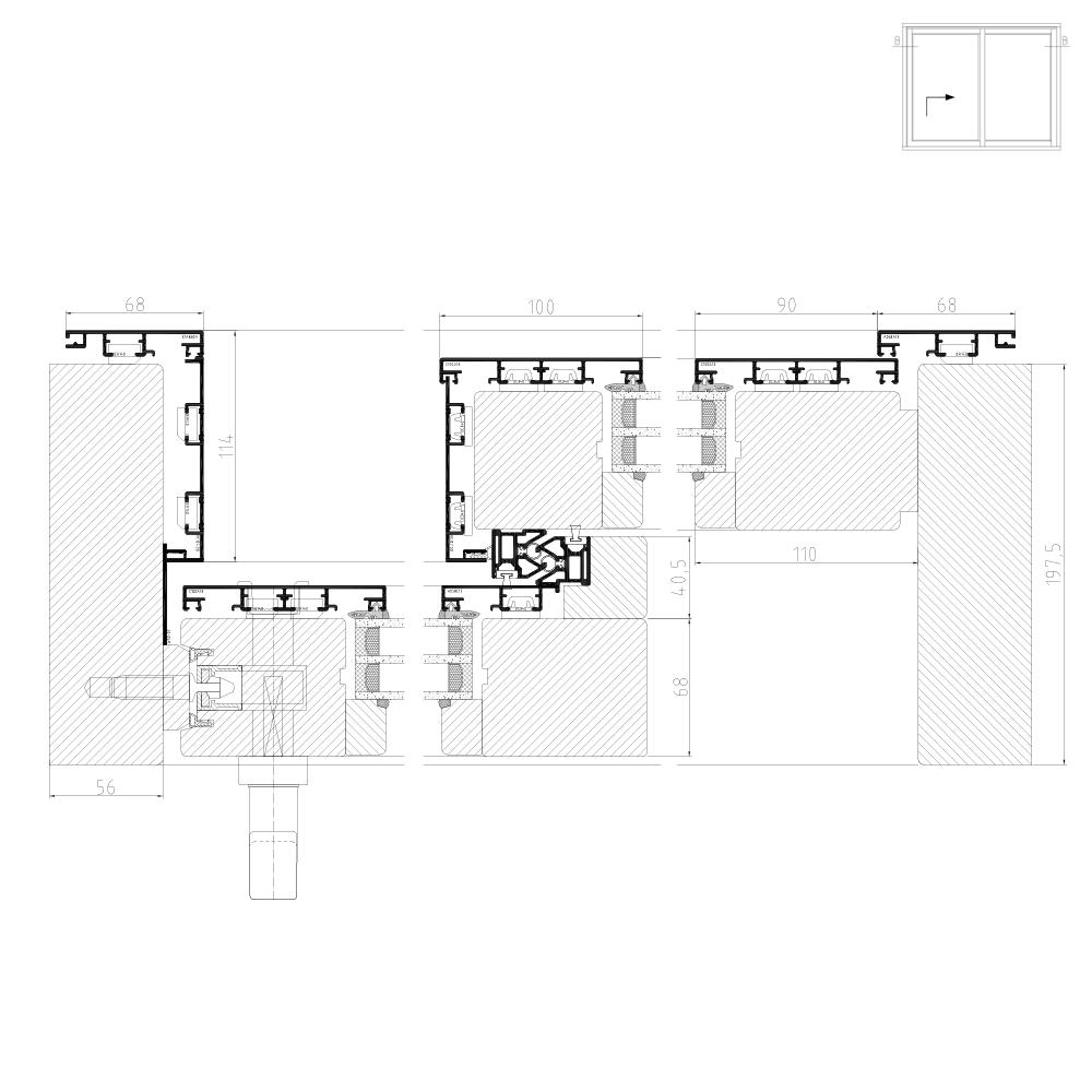 Hebeschiebetür Detail für Modell Plano