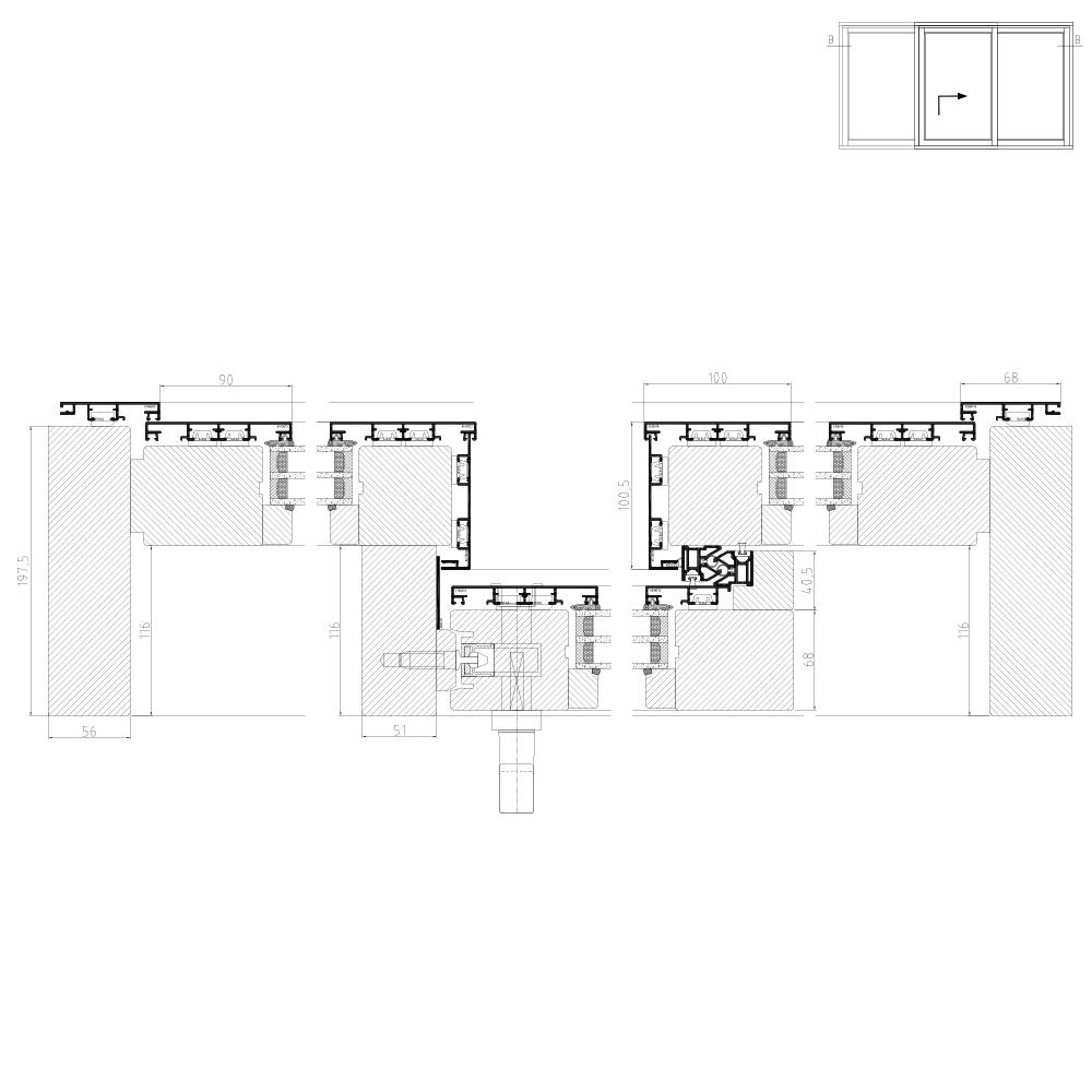Hebeschiebetür Detailzeichnung für Holz Alu Plano