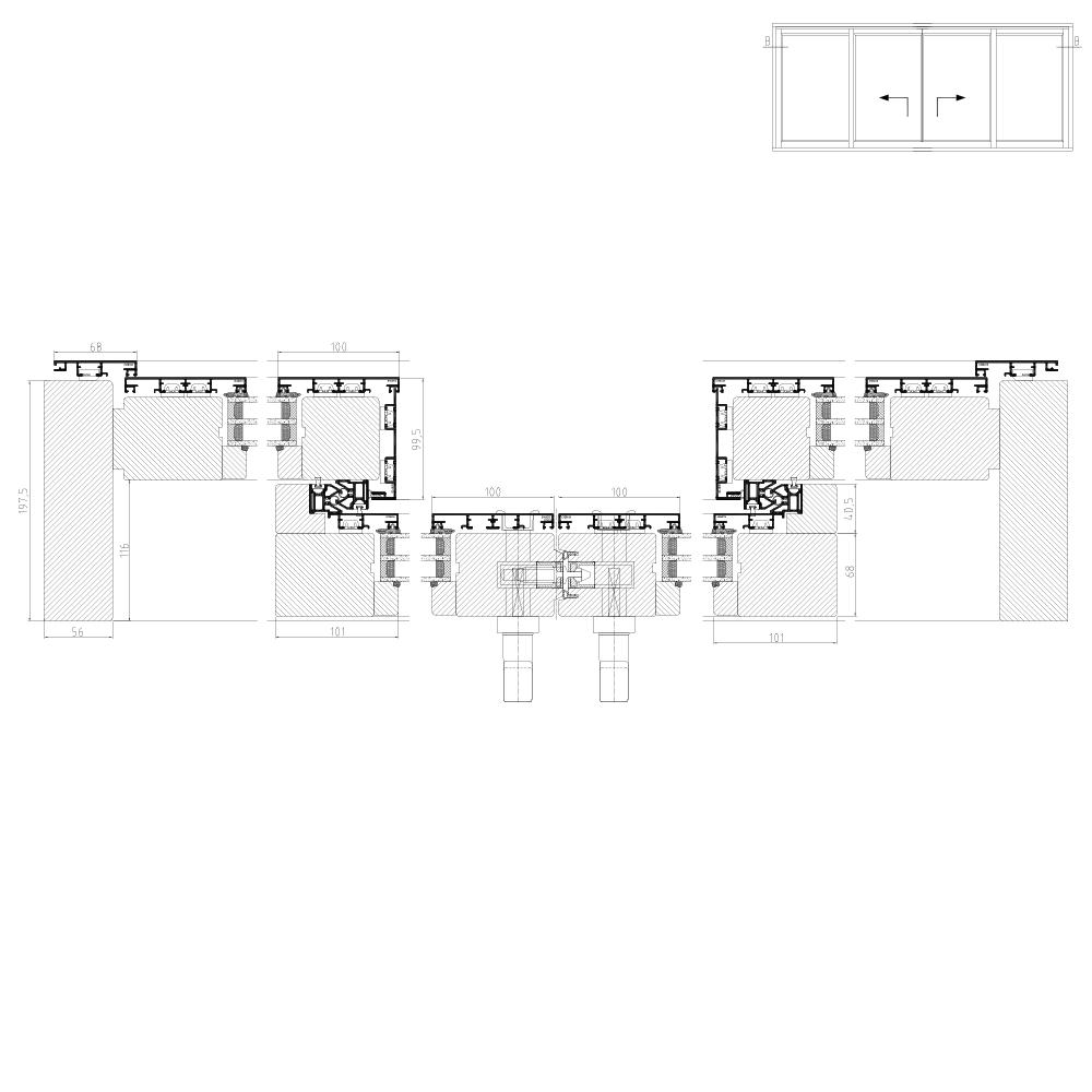 Hebeschiebetür mit Maße in Detailzeichnung