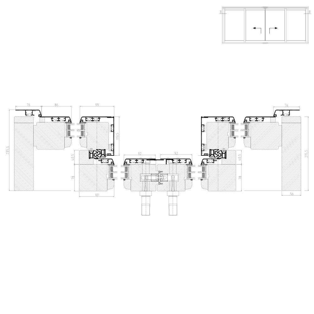 Hebeschiebetür Idealu IV78 Schema C Horizontalschnitt
