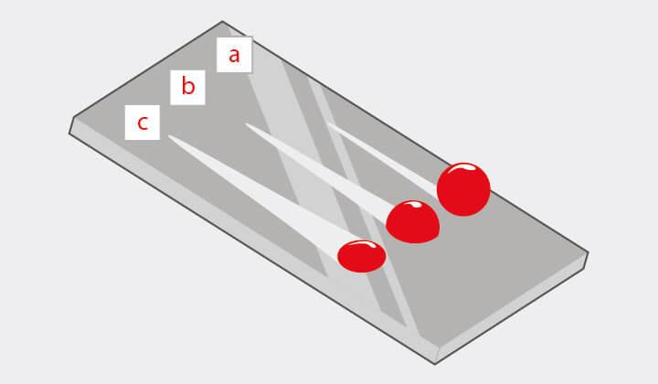 Verschiedene Benetzbarkeit von Glas