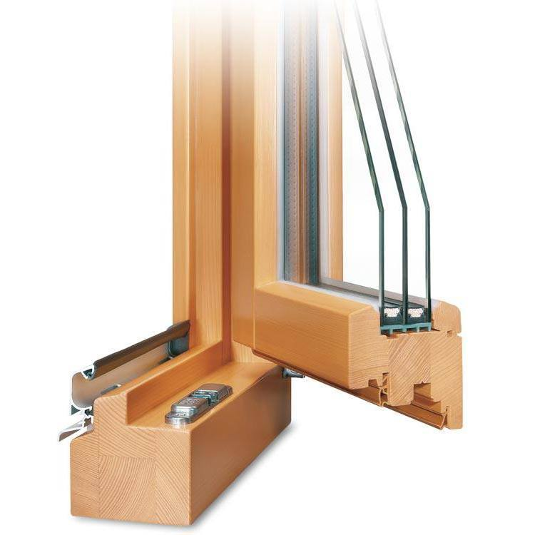 Balkontür Holz Profil Classic IV 78 geöffnet mit Regenschiene